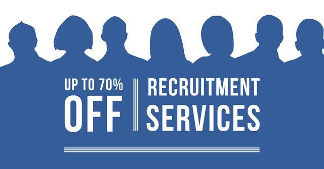 Plantilla de diseño de Recruitment Services Offer with People Silhouettes Facebook AD