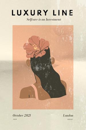 Plantilla de diseño de Beauty Ad with Flower in Girl's Hair Pinterest