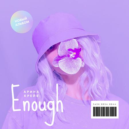 Young Girl in Neon colors Album Cover – шаблон для дизайна