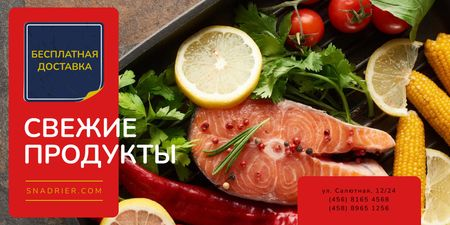 Seafood Offer with Raw Salmon Piece Twitter – шаблон для дизайна