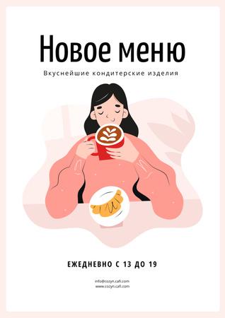 Girl enjoying Coffee and Croissant Poster – шаблон для дизайна