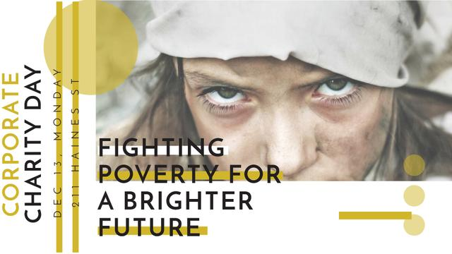 Poverty quote with child on Corporate Charity Day FB event cover – шаблон для дизайна