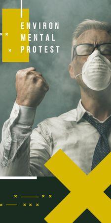 Ontwerpsjabloon van Graphic van Man in protective mask for Environmental Protest