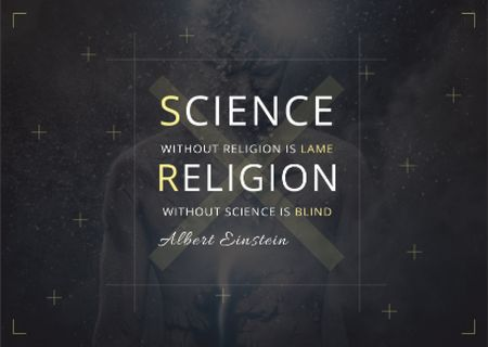 Plantilla de diseño de Citation about science and religion Card