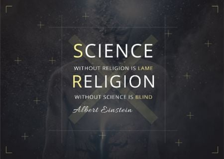 Citation about science and religion Card Modelo de Design