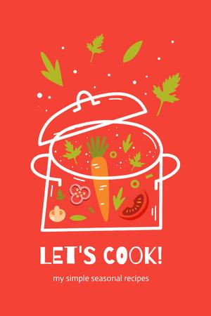 Recipe Ad with Veggie Soup in Pan Pinterest Modelo de Design