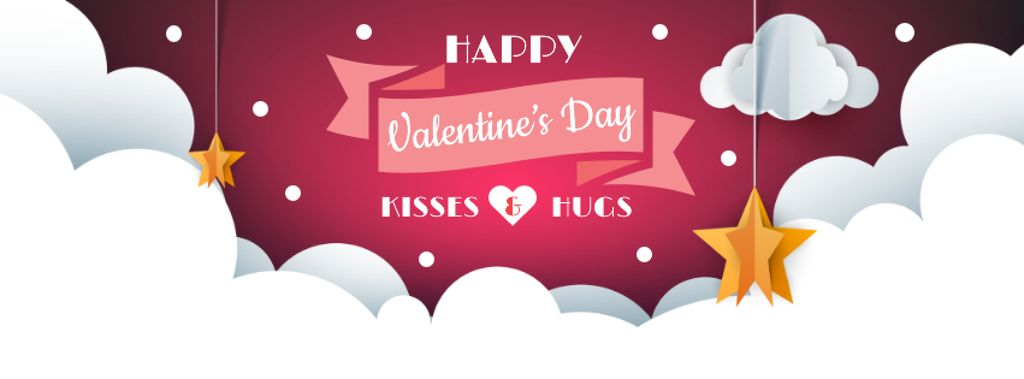Valentine's Day Greeting with Stars in clouds — Crear un diseño