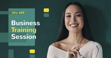 Business Training Offer with Smiling Businesswoman