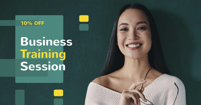 Modèle de visuel Business Training Offer with Smiling Businesswoman - Facebook AD