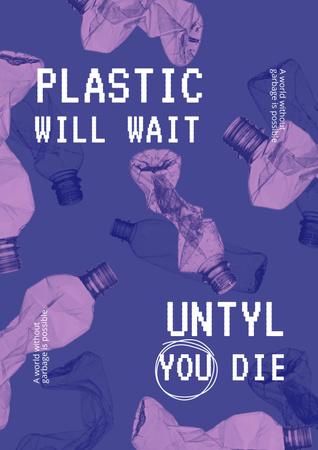 Eco Lifestyle Motivation with Plastic Bottles Illustration Poster Design Template