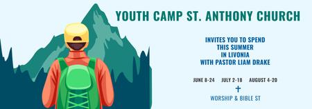 Youth Religion Camp invitation with boy in Mountains Tumblrデザインテンプレート