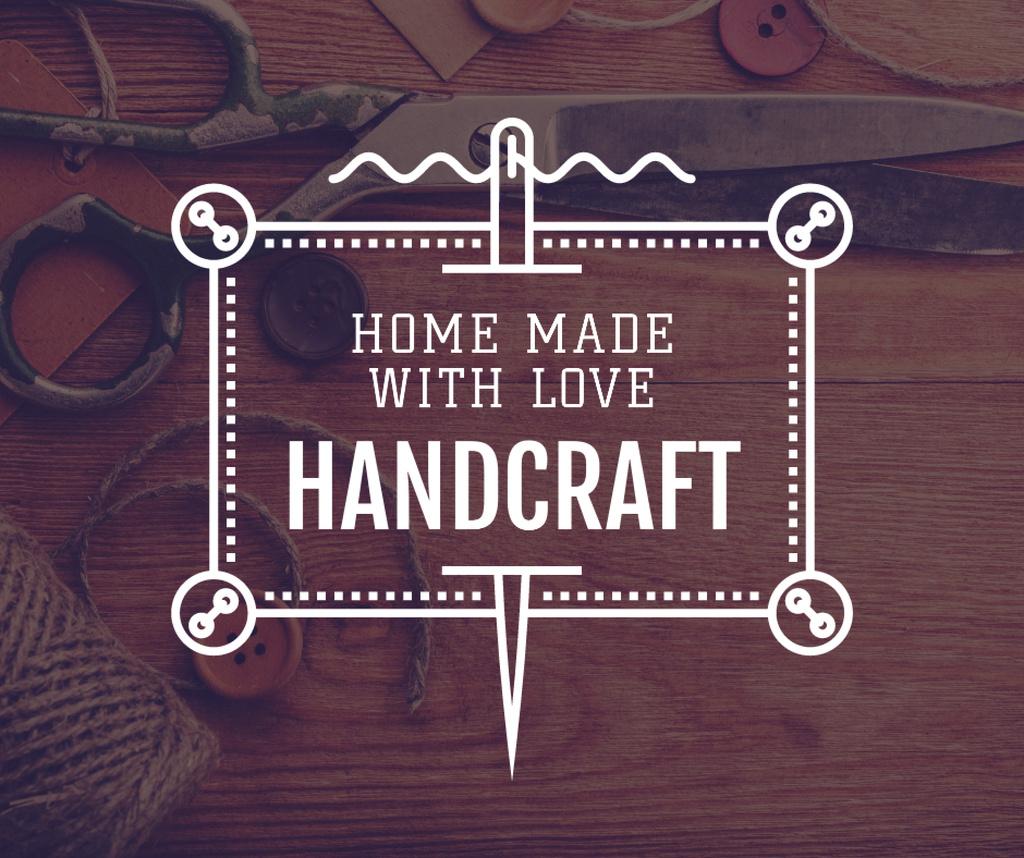 Ontwerpsjabloon van Facebook van Sewing Manual Tools and Threads in Brown