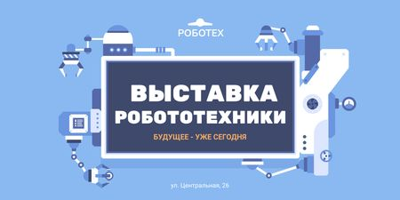 Robotics Exhibition Ad with Automated Production Line Twitter – шаблон для дизайна
