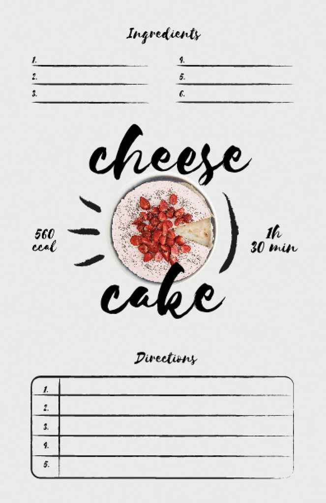 Cheese Cake Cooking Steps Recipe Cardデザインテンプレート