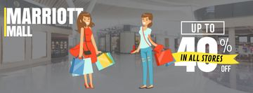 Mall Sale Announcement Cheerful Girls with Shopping Bags