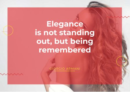 Citation about Elegance with Attractive Woman Cardデザインテンプレート