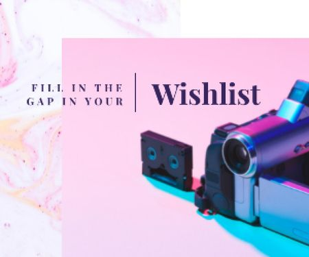 Designvorlage Video Camera with Film Cassette für Medium Rectangle