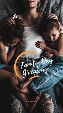 Family Day giveaway with Woman hugging Kids