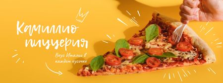 Pizzeria Ad in Yellow Facebook cover – шаблон для дизайна