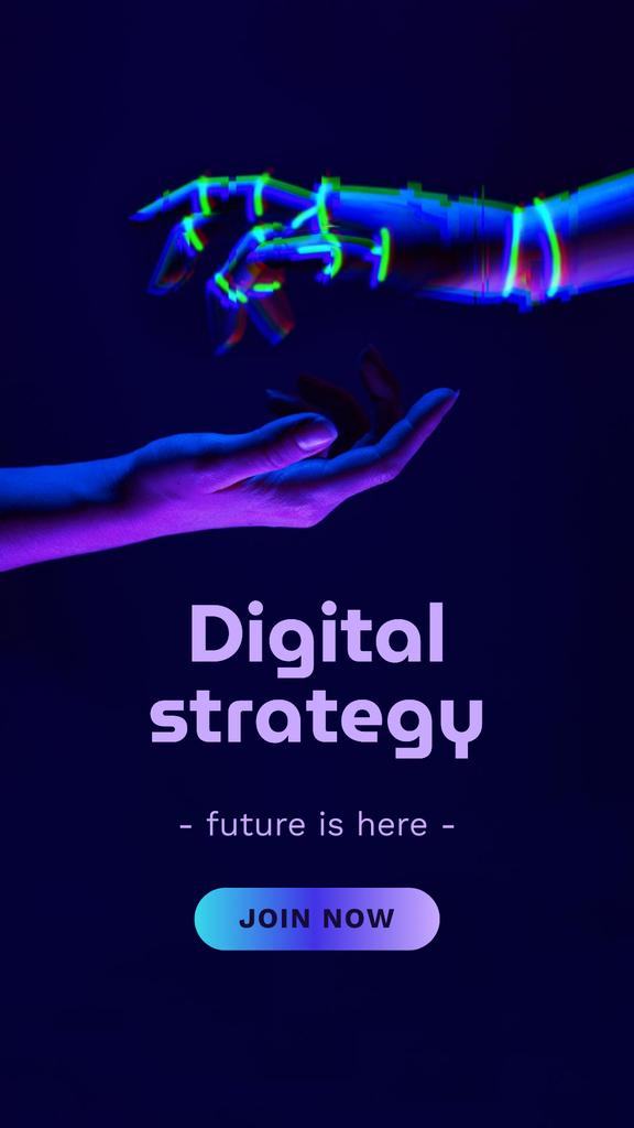 Modèle de visuel Digital Strategy Ad with Human and Robot Hands - Instagram Story