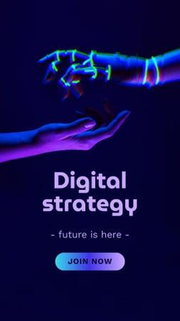 Ontwerpsjabloon van Instagram Story van Digital Strategy Ad with Human and Robot Hands