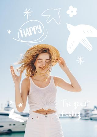 Mental Health Inspiration with Happy Woman Poster Modelo de Design