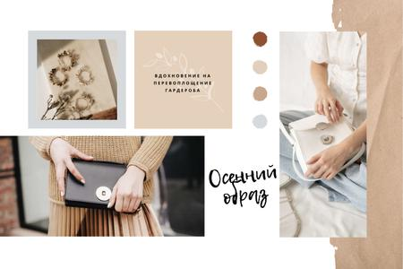 Woman holding stylish Bag Mood Board – шаблон для дизайна