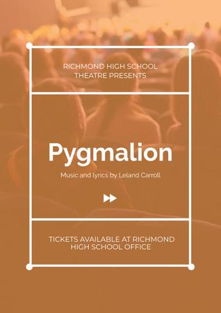 Plantilla de diseño de Pygmalion playing with audience in theater Poster