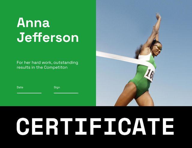 Sport Achievement Award with Female Winner Certificate Design Template