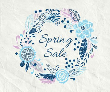 Spring Sale Flowers Wreath in Blue Facebook Modelo de Design