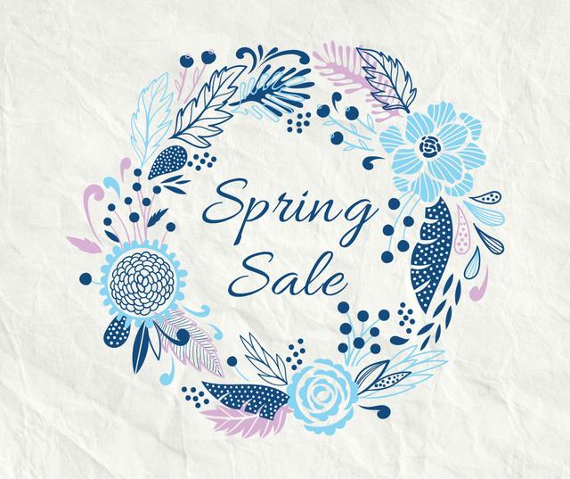 Spring Sale Flowers Wreath in Blue Facebook Design Template