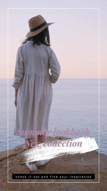 Summer Offer Woman on Cliff at Seashore Instagram Video Story – шаблон для дизайна