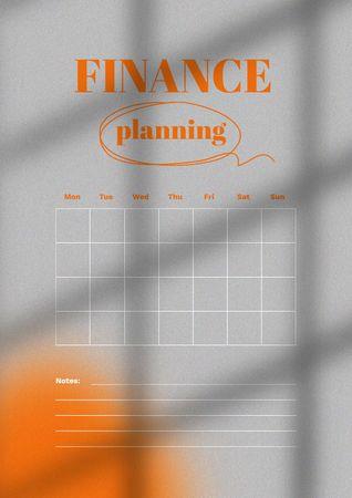 Platilla de diseño Finance Monthly Planning Schedule Planner