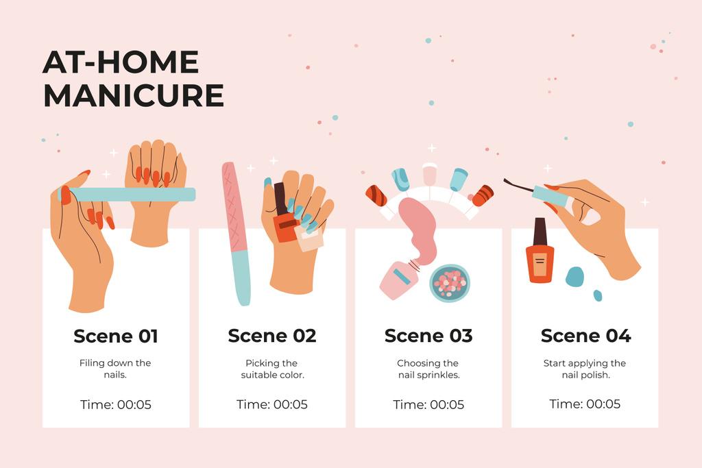 Salon Manicure procedure Storyboard Design Template