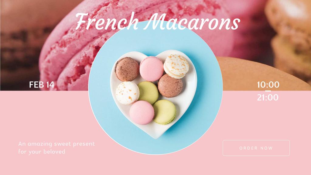 Valentine's Day Macarons on heart-shaped plate - Bir Tasarım Oluşturun