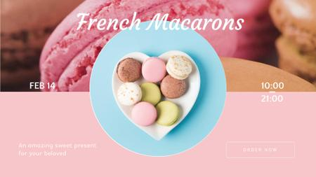 Valentine's Day Macarons on heart-shaped plate Full HD video Tasarım Şablonu