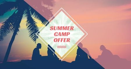 Plantilla de diseño de Summer Camp friends at sunset beach Facebook AD