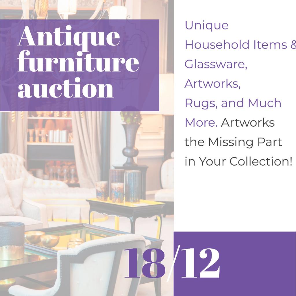 Antique Furniture Auction Vintage Wooden Pieces — Modelo de projeto