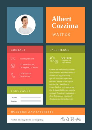 Professional Waiter skills and experience Resume Modelo de Design