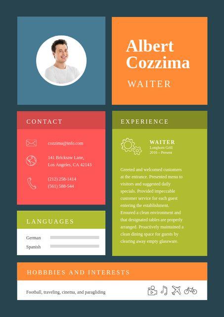 Plantilla de diseño de Professional Waiter skills and experience Resume