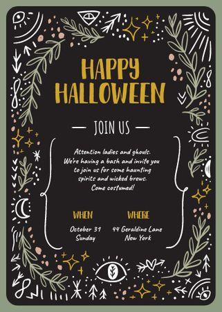 Halloween Greeting on Mysterious Ornament Invitation – шаблон для дизайна