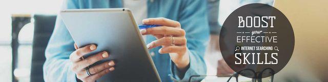 Ontwerpsjabloon van Twitter van Young woman using tablet