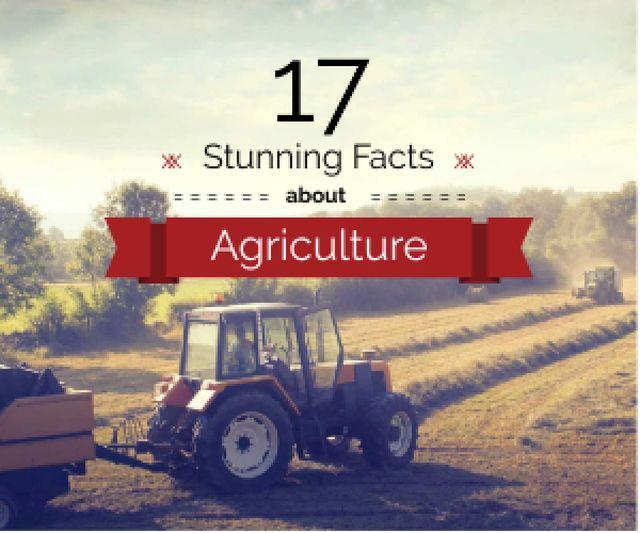 Designvorlage Agriculture Facts Tractor Working in Field für Medium Rectangle