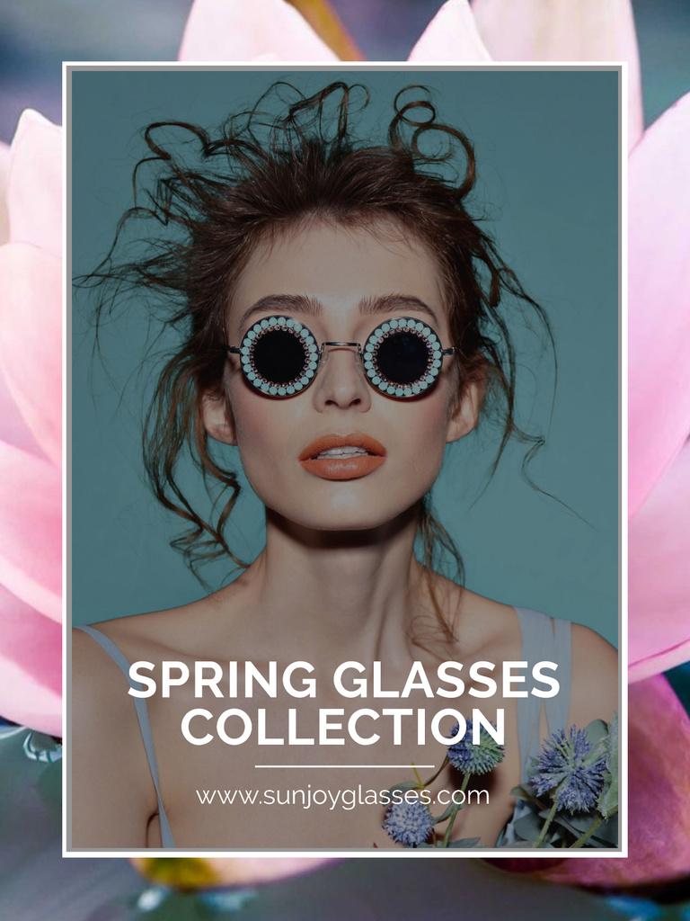 Ontwerpsjabloon van Poster US van Spring Collection with Beautiful Girl in Sunglasses