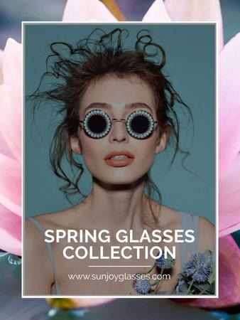 Plantilla de diseño de Spring Collection with Beautiful Girl in Sunglasses Poster US