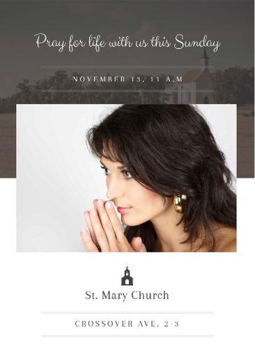 Church Invitation With Woman Praying