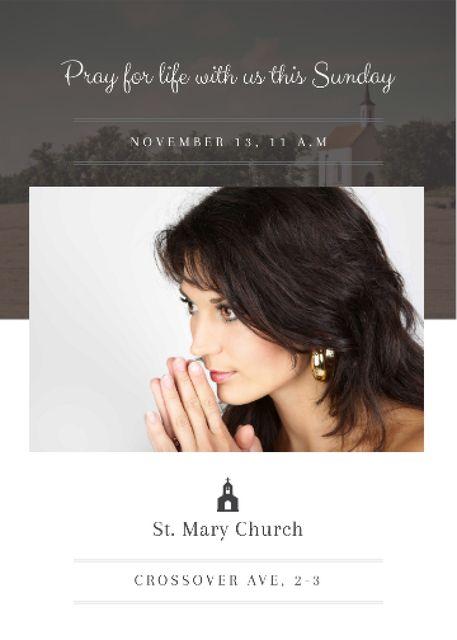 Ontwerpsjabloon van Flayer van Church invitation with Woman Praying