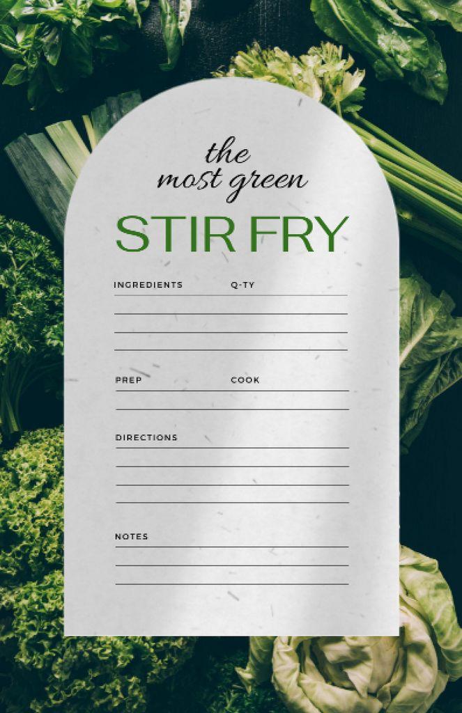 Cooking Steps with Greens Recipe Card – шаблон для дизайну