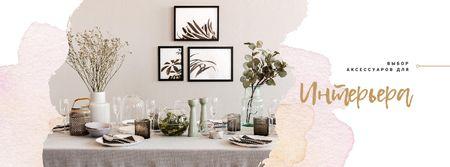 Festive formal dinner Table Setting Facebook cover – шаблон для дизайна