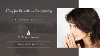 Invitation to church with praying Woman